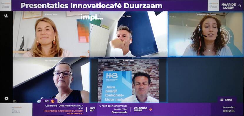 Beeldschermafbeeling van het virtuele Innovatiecafé van 25 juni 2020